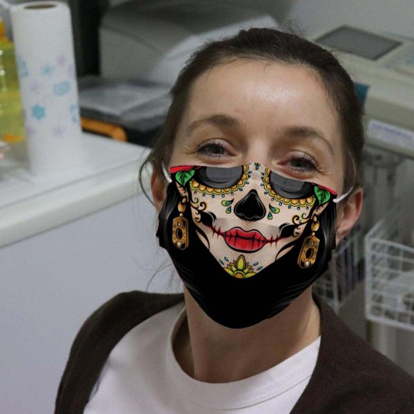 Female Sugar Skull Mexican Day Of The Dead Face Mask