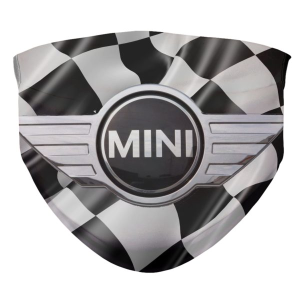 Mini Cooper Mask Checkerboard Background Race Car Face Mask