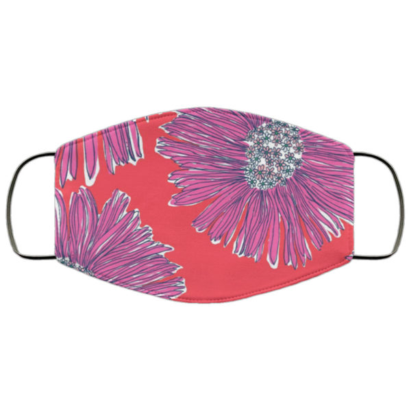 Red and Pink Daisy Lilly Print Face Mask