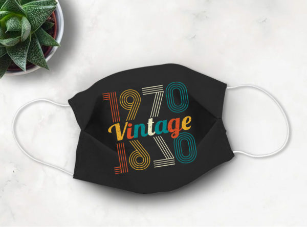 1970 Vintage Face Mask 50th Birthday Eye Catching Retro Style Face Mask