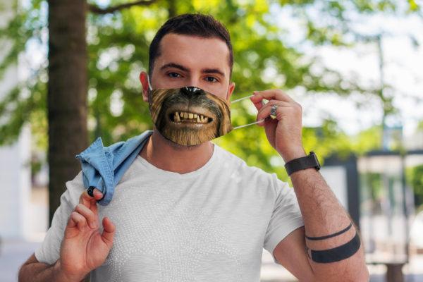 Hairy Monster Character Nerd Geek Gift Face Mask