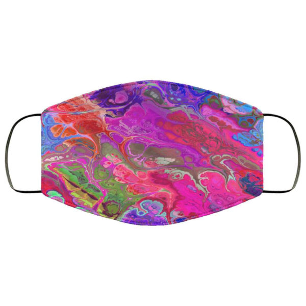 Fluid Paint Swirls Colorful Rainbow Pattern Neon Colors Marble Face Mask