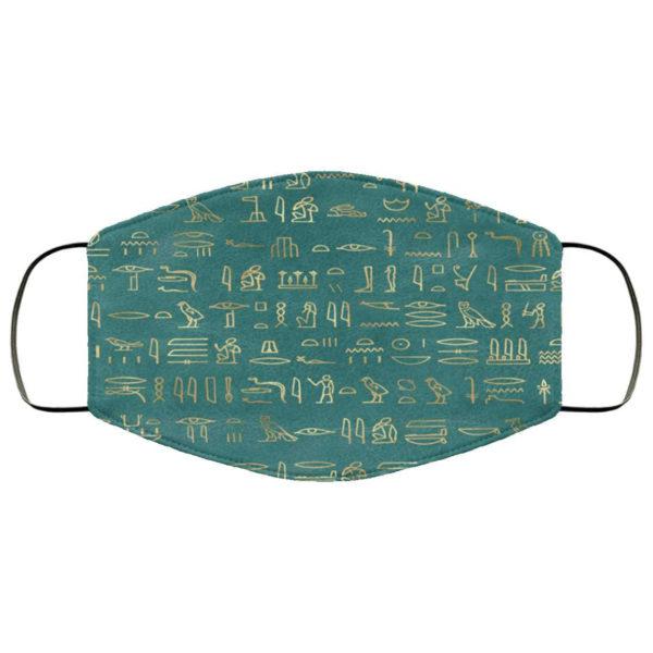 Teal Hieroglyphics Egyptian Face Mask