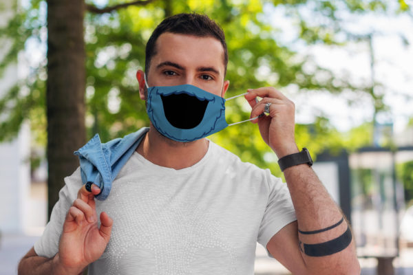 Cute Blue Monster Mouth Cartoon Reusable Face Mask