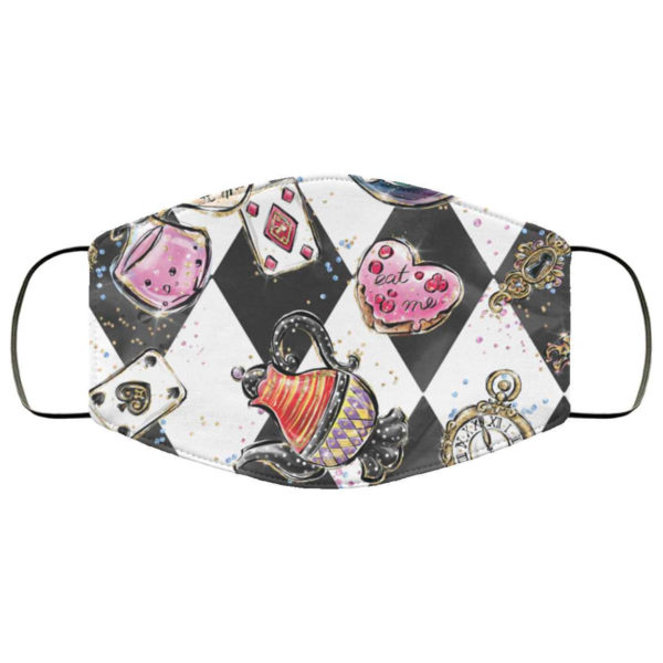 Alice in Wonderland Face Mask - Hearts Drink Me Eat Me Checkered Watch Late Mask