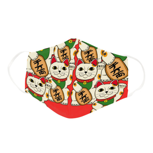 Japanese Maneki Neko Good Luck Cat Charm Bring Fortune Face Mask