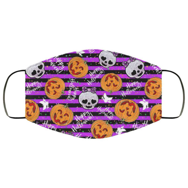Girly Skull Happy Halloween Face Mask - Trick or Treat Mask