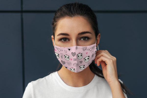 Funny Cute Pink Panda Bear With Love Heart Gift Face Mask