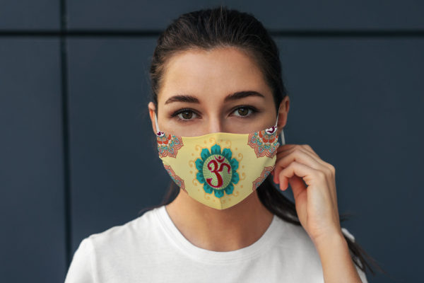 Beautiful Om Symbol Yoga Lover Yellow Mandala Design Face Mask