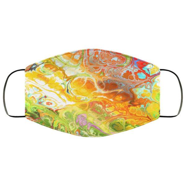 Fluid Paint Swirls Colorful Rainbow Pattern Autumn Marble Face Mask