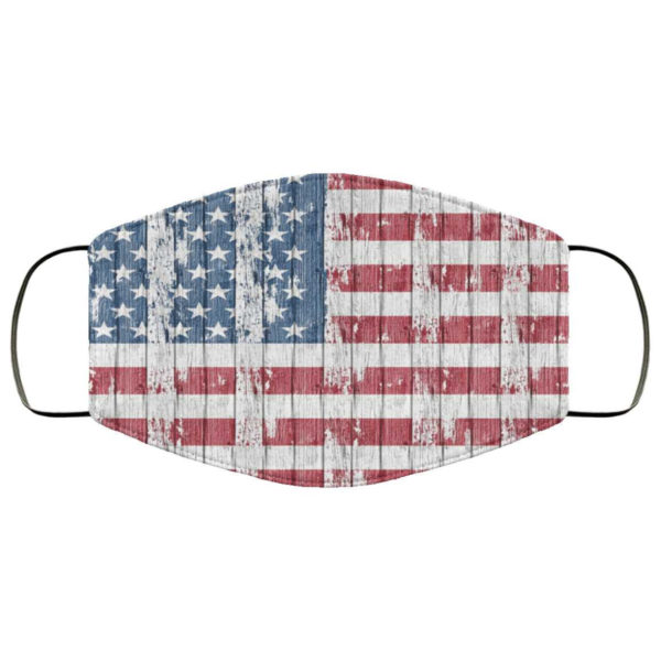 American Flag Face Mask - USA Woden American Flag Patriotic America Stars Stripes Mask