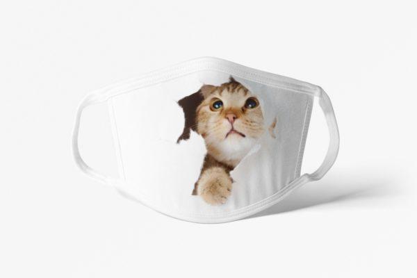 Cat Peeking Face Mask