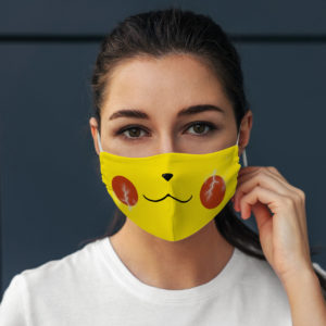 Cute Happy Yellow Electric Anime Character Gamer Nerd Geek Face Mask