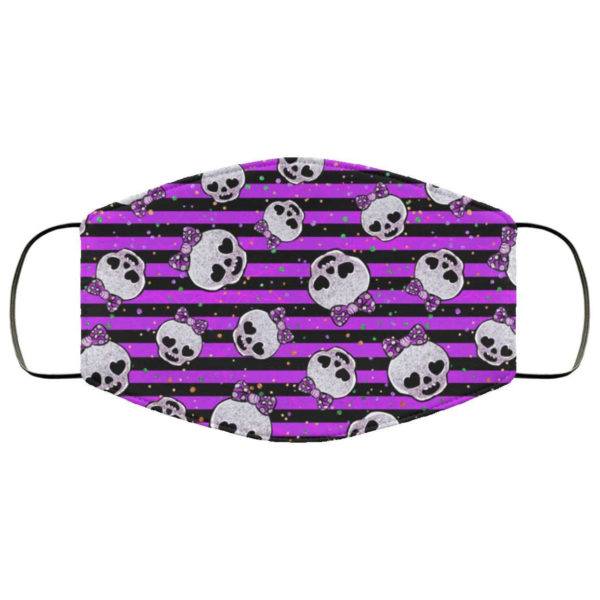 Girly Skulls Bows Halloween Face Mask - Trick or Treat Mask Purple