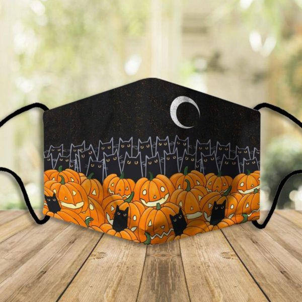 Cat and punpkins halloween face mask