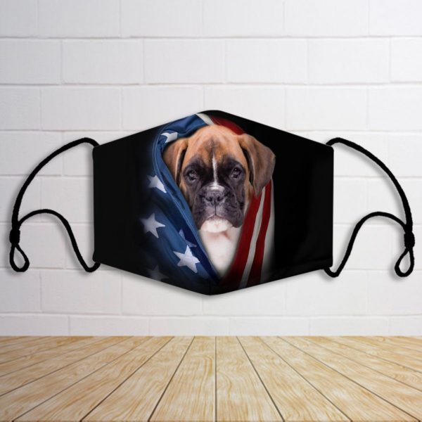 Boxer with american flag face mask