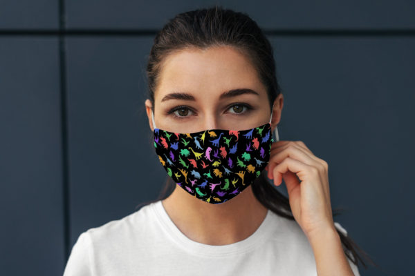 Colorful Dinosaur Pattern Animal Lover Face Mask