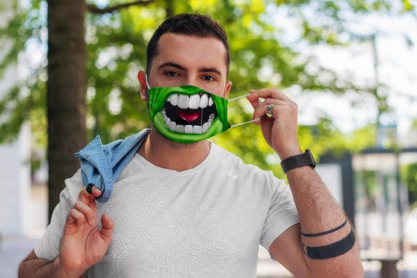 Green Superhero Super Power Monster Character Face Mask