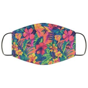 Neon Floral Print Face Mask