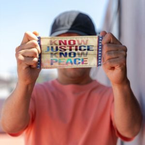 No Justice No Peace BLM Black Lives Matter Tie Dye Hologram Face Mask