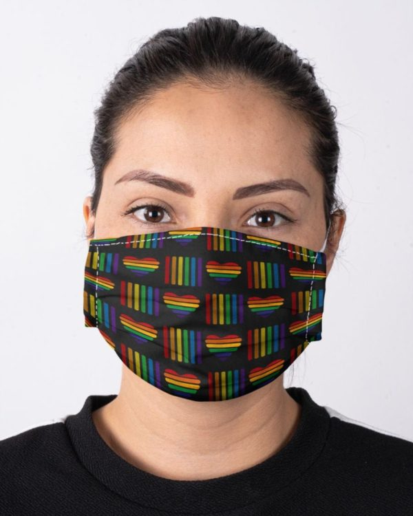 LGBT Rainbow Pride Equal Humanity Love is Love Rainbow Heart Face Mask