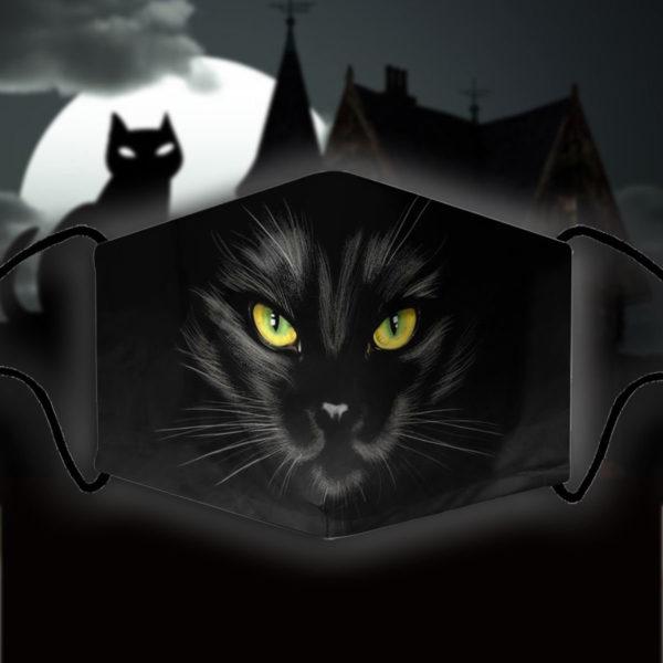Black cat Halloween themed face masks