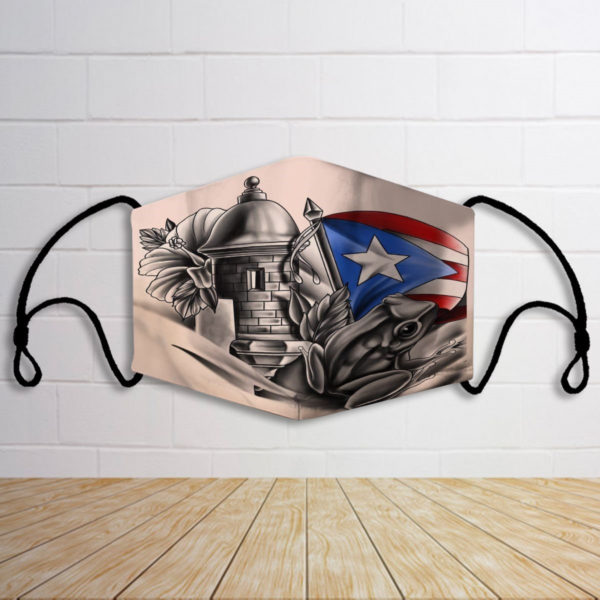 Puerto rico with plag patter face mask