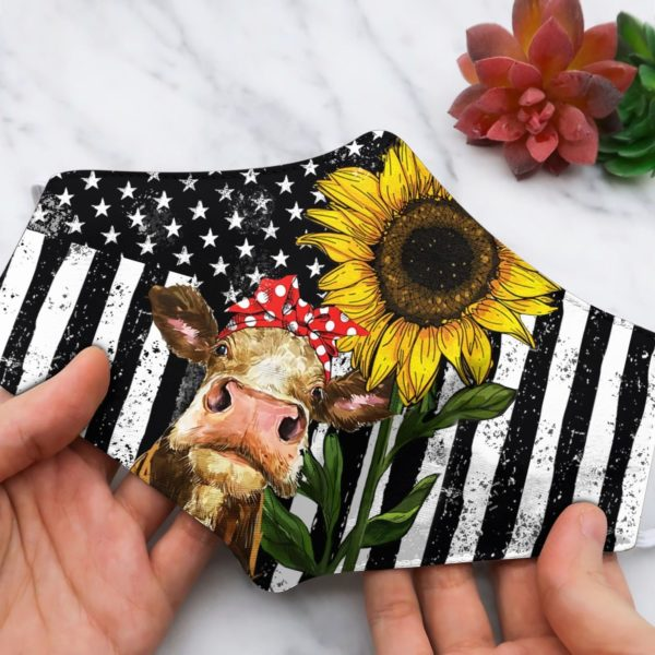 Cow heifer sunflower face mask
