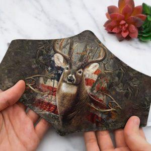 Deer USA America Flag face mask