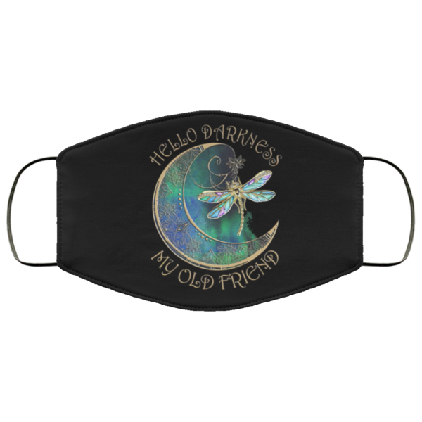 Hello Darkness My Old Friend Moon Dragonfly Hippie Face Mask