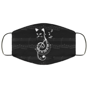 Cat Treble Clef G Clef Note Funny Cat Music Face Mask