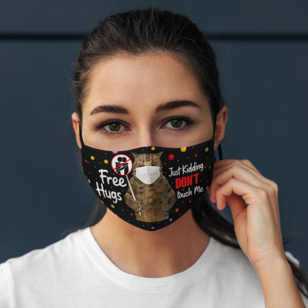 Free Hugs Just Kidding Dont Touch Me Angry Cat Face Mask
