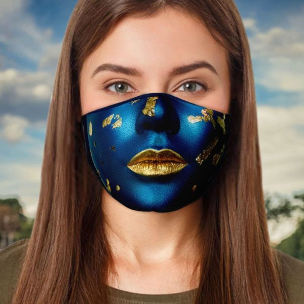 Fashion Blue And Gold Cool Halloween Face Mask
