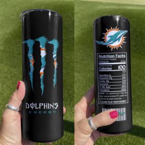 Dolphins Monster Energy Skinny Tumbler 20oz 30oz