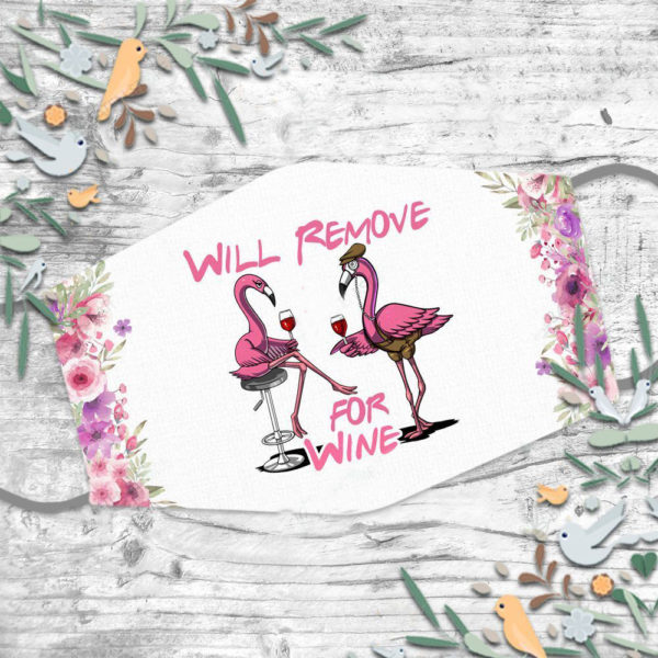 Will Remove For Wine Couple Cool Flamingos Face Mask