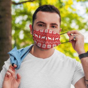 Leonberger Dog Ugly Christmas Sweater Pattern Face Mask