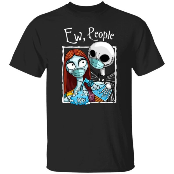 Jack and Sally Wearing Facemask Hand sanitizer T-Shirt