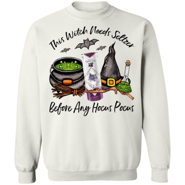 San Juan Huckleberry This Witch Needs Seltzer Before Any Hocus Pocus Halloween T-Shirt
