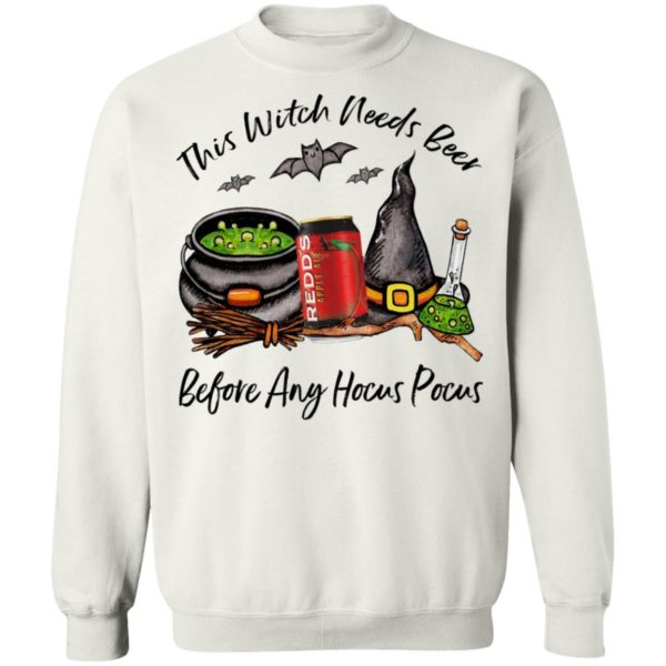 Redd_s Apple Ale Can This Witch Needs Beer Before Any Hocus Pocus Halloween T-Shirt