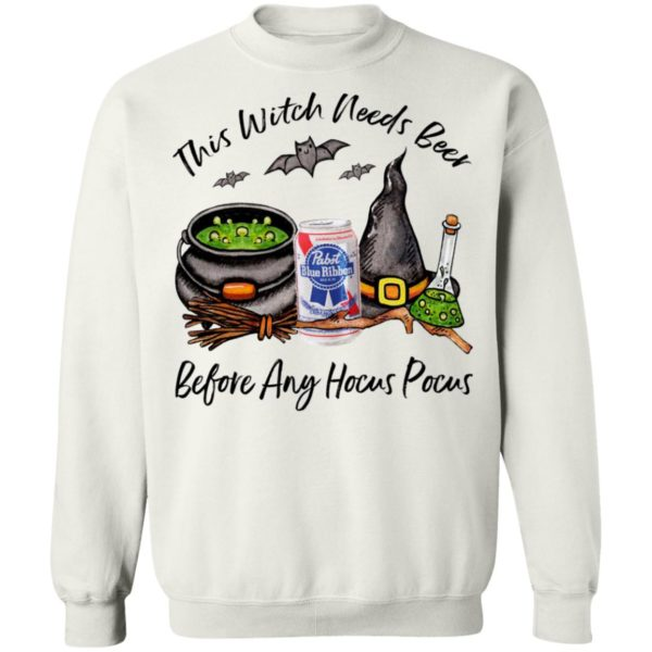Pabst Blue Ribbon Can This Witch Needs Beer Before Any Hocus Pocus Halloween T-Shirt