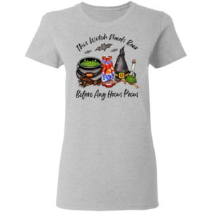 Pabst Blue Ribbon Bottle This Witch Needs Beer Before Any Hocus Pocus Halloween T-Shirt