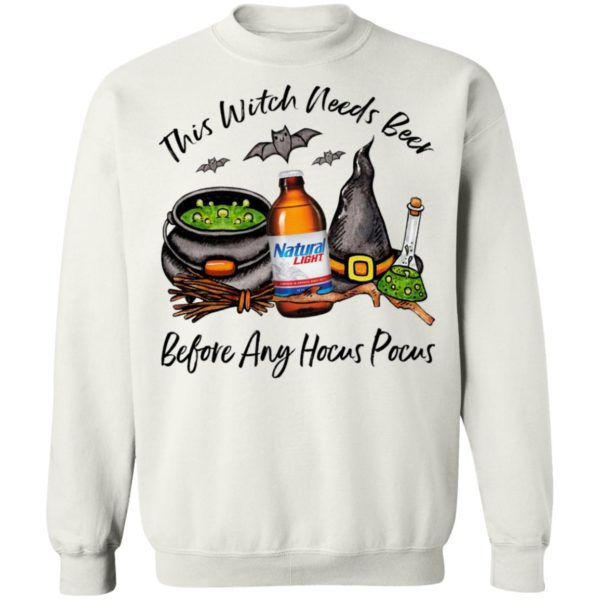 Natural Light Bottle This Witch Needs Beer Before Any Hocus Pocus Halloween T-Shirt