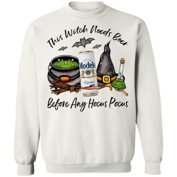Modelo Can This Witch Needs Beer Before Any Hocus Pocus Halloween T-Shirt