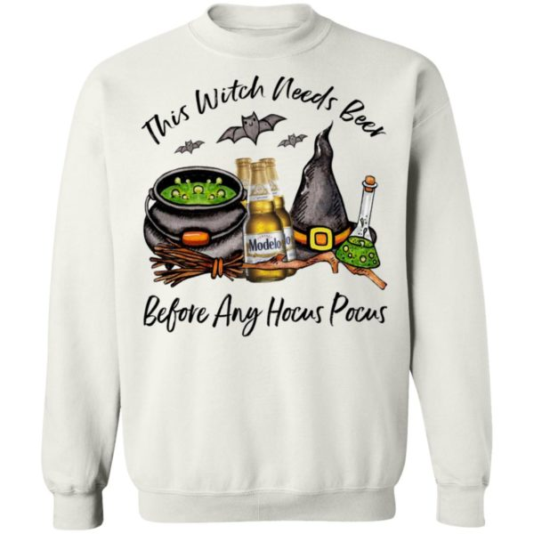 Modelo Bottle This Witch Needs Beer Before Any Hocus Pocus Halloween T-Shirt