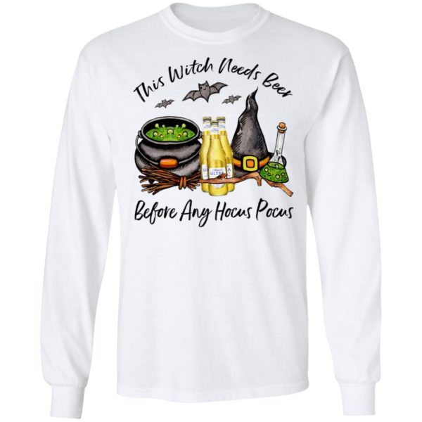 Michelob Ultra Pure Gold Bottle This Witch Needs Beer Before Any Hocus Pocus Halloween T-Shirt