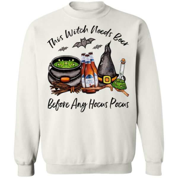 Michelob Ultra Bottle This Witch Needs Beer Before Any Hocus Pocus Halloween T-Shirt