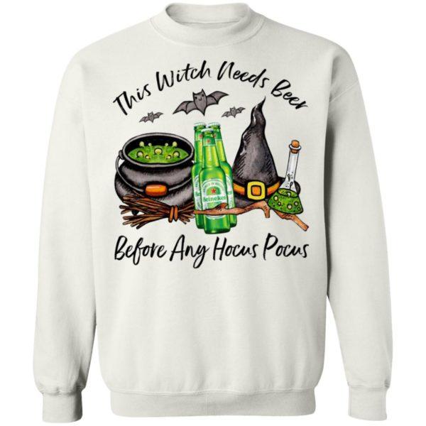 Heineken Light Bottle This Witch Needs Beer Before Any Hocus Pocus Halloween T-Shirt