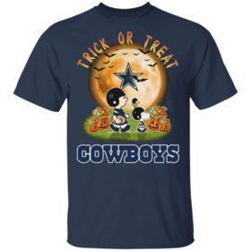 Dallas Cowboys Peanuts Snoopy trick or treat pumpkin moon Halloween shirt