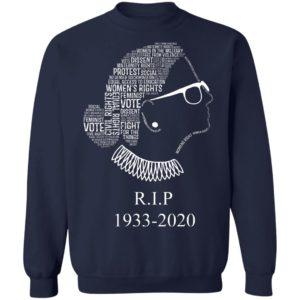 Notorious RBG R.I.P 1933- 2020 Shirt Ruth Bader Ginsburg Quotes Feminist Shirt