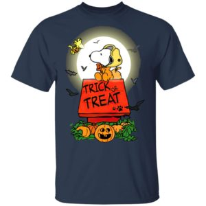 Halloween Trick Or Treat Pumbkin Woodstock And Snoopy T-Shirt